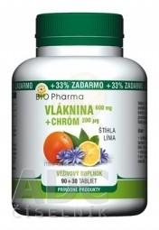 BIO Pharma Vláknina 600 mg, Chróm 200 µg tbl 90+30 (33% ZADARMO) (120 ks)