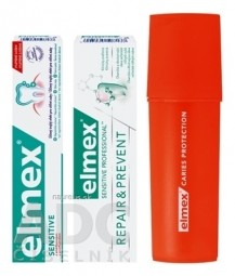ELMEX SENSITIVE ZUBNÁ PASTA DUOPACK S PÚZDROM Sensitive 1x75 ml + Sensitive Professional 1x75 ml + puzdro ZDARMA, 1x1 set