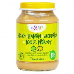 Príkrm jablko, banán, marhuľa 190 g BIO