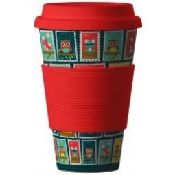 Eco Bamboo Cup - Stamps (známky) Red červený