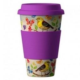 Eco Bamboo Cup - Birds, motýle fialový