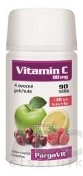 PargaVit VITAMÍN C Mix tbl ovocné príchute (90+ 30 navyše) 1x120 ks
