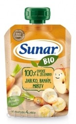 Sunar BIO Kapsička Jablko, banán, mrkva