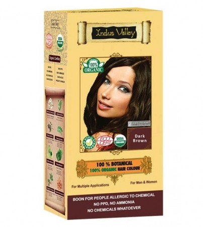 100% Rastlinná, 100% Organická farba na vlasy Tmavohnedá