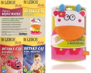 LEROS BABY 4 ČAJE A MAŇUŠKA NA UMÝVANIE pre dojčiace matky + Bylinný + malinka + Kašeľ, priedušky + maňuška, 1x1 set