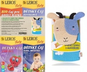 LEROS BABY 4 ČAJE A MAŇUŠKA NA UMÝVANIE BIO pre dojčiace matky + BIO feniklový + Jahôdka + Kašeľ, priedušky + maňuška, 1x1 set
