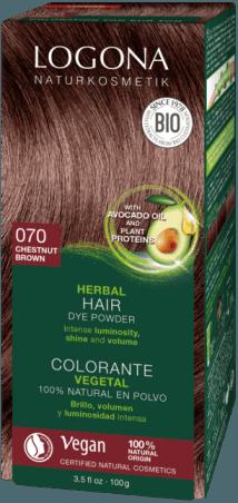 Logona Prášková farba na vlasy gaštanová - 100g