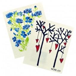 More Joy Kuchynská prateľná utierka 2ks Modré kvety - Stromy a srdcia