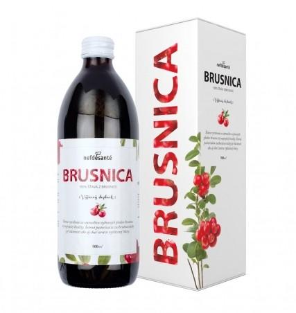 BRUSNICA (100 % šťava z brusnice veľkoplodej s prídavkom vitamínu C 500 ml)