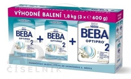 BEBA OPTIPRO 2 - Trojbalenie (modrá, inov. 2019) následná mliečna výživa (od ukonč. 6.mesiaca) 3x600 g (1,8 kg), 1x1 set