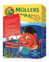 MOLLER´S Omega 3 Želé rybičky žuvacie tablety, malinová príchuť 1x45 ks
