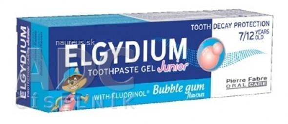 ELGYDIUM JUNIOR gélová zubná pasta s fluorinolom pre deti (7-12 rokov) s príchuťou žuvačky 1x50 ml
