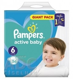 PAMPERS active baby Giant Pack 6 ExtraLarge detské plienky (13-18 kg)(inov.18) 1x56 ks