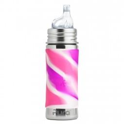 Pura® nerezová fľaša s náustkom 325ml - Ružovo-biela