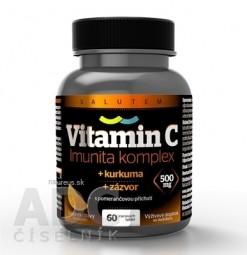 Vitamín C 500 mg Imunita komplex SALUTEM cmúľacie tablety s kurkumou a zázvorom, pomarančová príchuť 1x60 ks