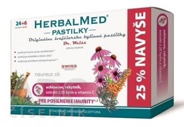 HERBALMED PASTILKY pre posilnenie imunity - Dr.W. (echinacea, rakytník, 20 bylín, vit.C) pastilky 24+6 navyše (30 ks)