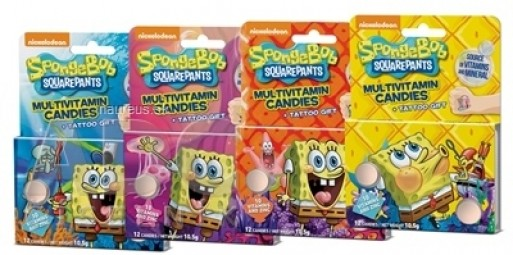 Vieste Multivitamín SpongeBob + tetovanie BOX cukríky 12x(12 ks + 1 tetovanie), 12x1 set