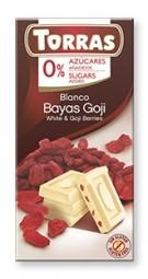 Torras čokoláda DIA biela čok. s goji 75g