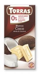 Torras čokoláda DIA biela čok. s kokosom 75g