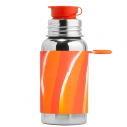 Pura® nerezová fľaša so športovým uzáverom 550ml - Oranžovo-biela