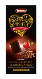 Torras ZERO horká - kakaové bôby a brusnice 125g
