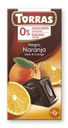 Torras čokoláda DIA horká čok. s pomarančom 75g