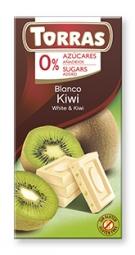 Torras čokoláda DIA biela čok. s kiwi 75g