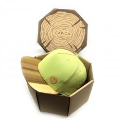 Čapica classic zelená BIO látka + šilt TOULIPE drevo - veľkosť M/L