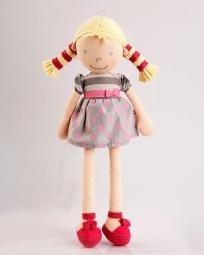 Látková bábika Ann - bodkované šaty a blond vrkoče 46 cm