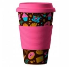 Eco Bamboo Cup - Donuts (šišky) ružový