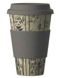 Eco Bamboo Cup - Panda (sivý)