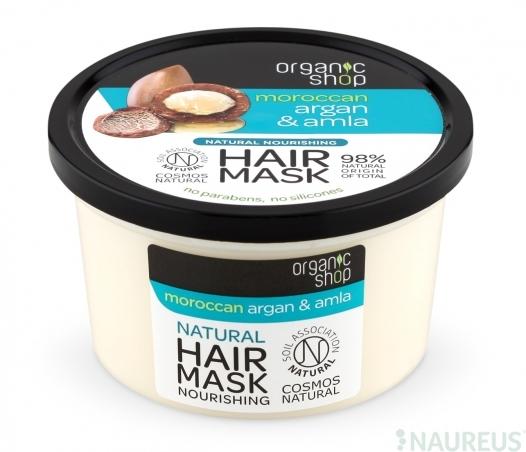 Organic Shop - Marocký arganový olej a amla - Výživná maska na vlasy 250 ml