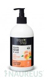 Organic Shop - Ruža a broskyňa - Výživné mydlo na ruky 500 ml