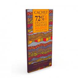 CACHET čokoláda horká BIO ORGANIC 72% mandľa 100g