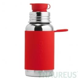 Pura® nerezová fľaša so športovým uzáverom 550ml - Červená