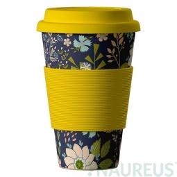 Eco Bamboo Cup - Dark Flowers poľné kvety žltý