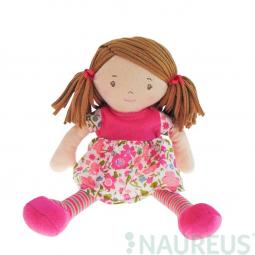 Látková bábika – Malá Fran ružové šaty 26 cm