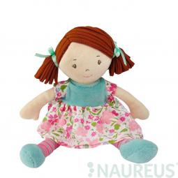 Látková bábika – Malá Katy ružové-modré šaty 26 cm