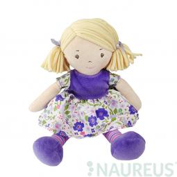 Látková bábika – Malá Peggy fialové šaty 26 cm