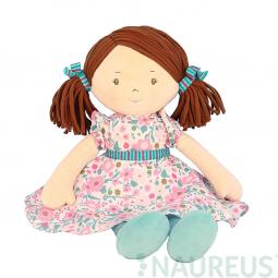 Látková bábika – Katy ružovo-modré šaty 41 cm