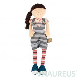 Látková bábika Julia - pásikavé nohavice na traky 46 cm