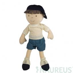 Látková bábika – chlapec Leo so šiltovkou 32 cm