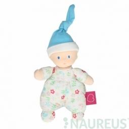Mini bábika miláčik 15 cm - Kvietkovaná modrá čiapka