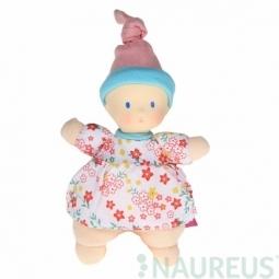 Mini bábika miláčik 15 cm - Kvietkovaná ružová čiapka