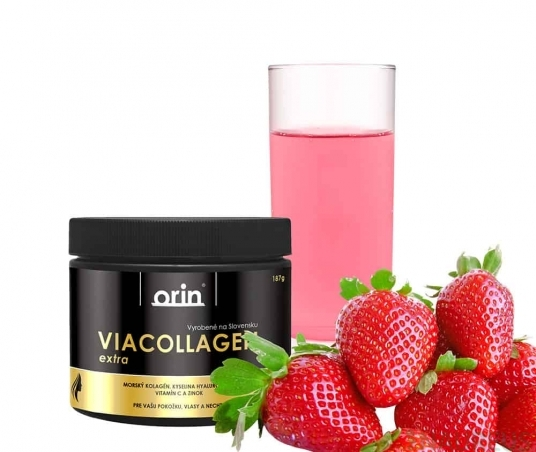 ViaCollagen extra s vitamínom C – JAHODA 187g