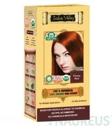 100% Rastlinná, 100% Organická farba na vlasy Ohnivočervená