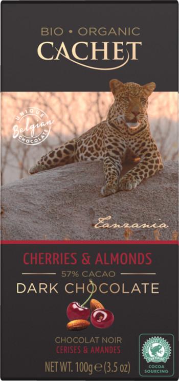 CACHET čokoláda Tanzania Organic horká 57% višňe a mandle 100g