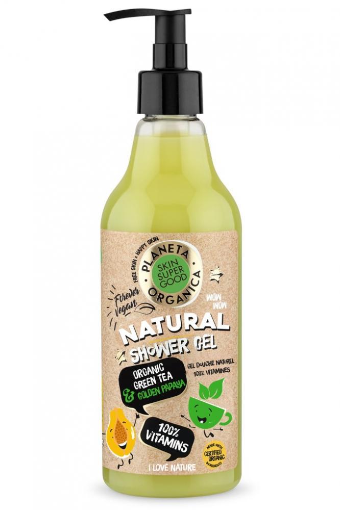 Skin Super Good Prírodný sprchový gél 100% vitamíny - Organický zelený čaj a Zlatá Papaja 500 ml