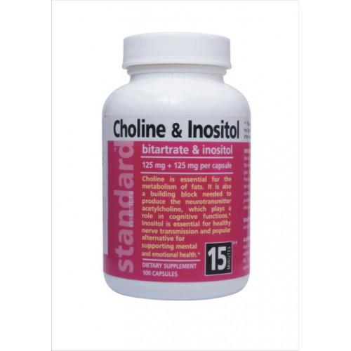 NUlab Cholín a Inozitol 125 mg + 125 mg, 100 kapsúl 80.7 g / 100kapsúl