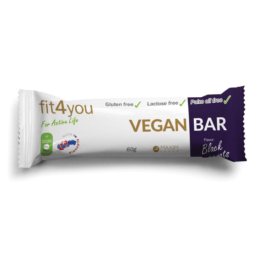 Fit4you Vegan Bar Black Currants 60g - tyčinka